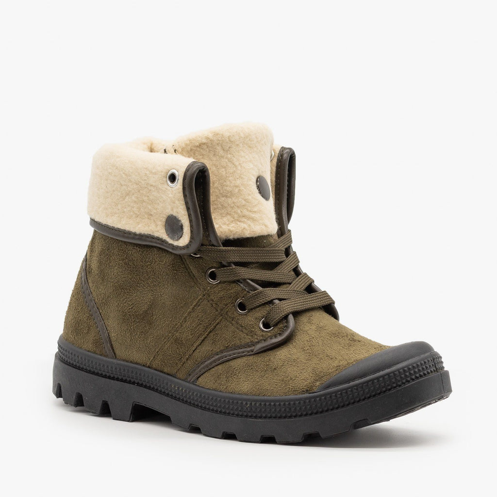 Womens Sturdy Cuffed Winter Boots - Refresh - Khaki / 5