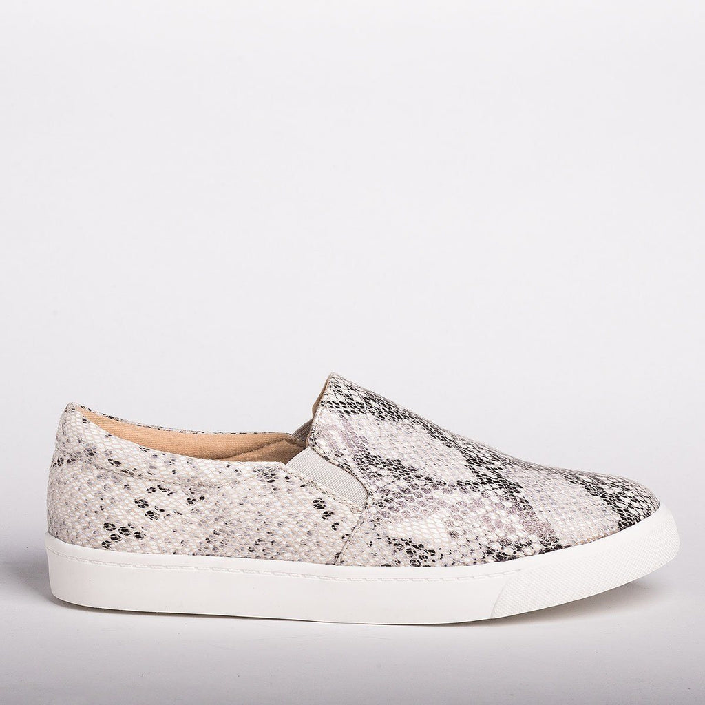 Womens Stylish Comfy Insole Slip-On Sneakers - Soda Shoes - Beige Python / 5