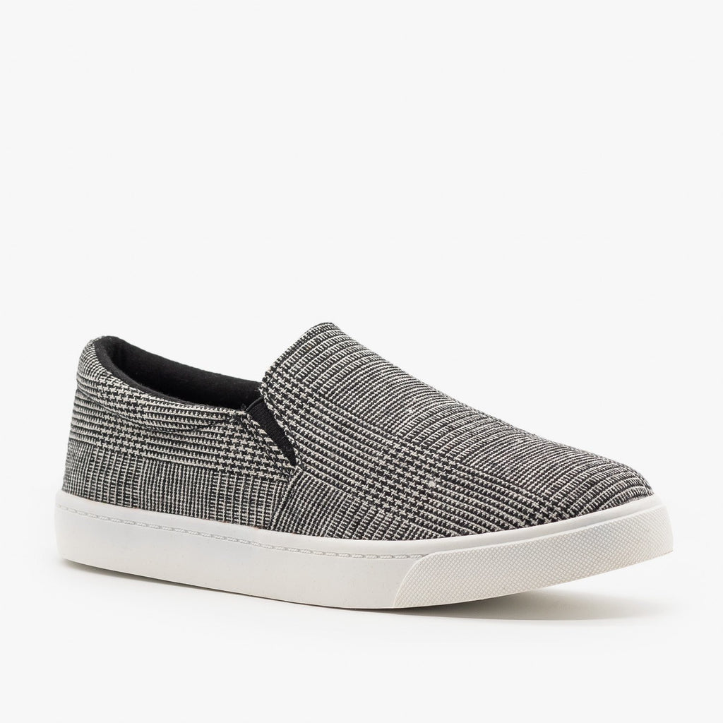 Womens Stylish Comfy Insole Slip-On Sneakers - Soda Shoes - Black Plaid / 5