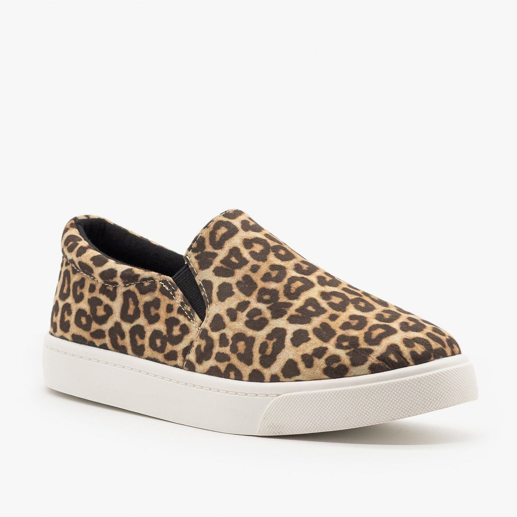 Womens Stylish Comfy Insole Slip-On Sneakers - Soda Shoes - Oatmeal Cheetah / 5