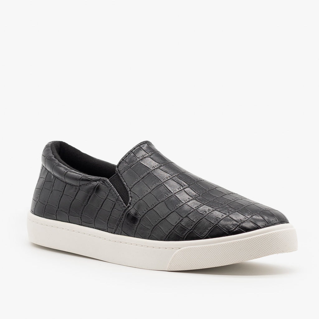 Womens Stylish Comfy Insole Slip-On Sneakers - Soda Shoes - Black Crocodile / 5