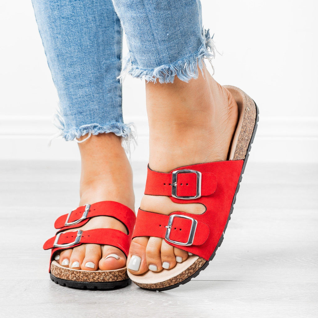 Womens Stylish Double Buckle Sandals - Forever - Red / 5