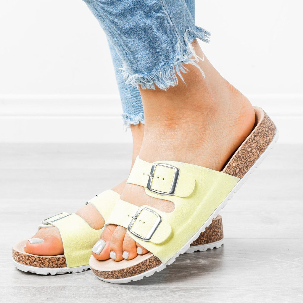 Womens Stylish Double Buckle Sandals - Forever - Yellow / 5