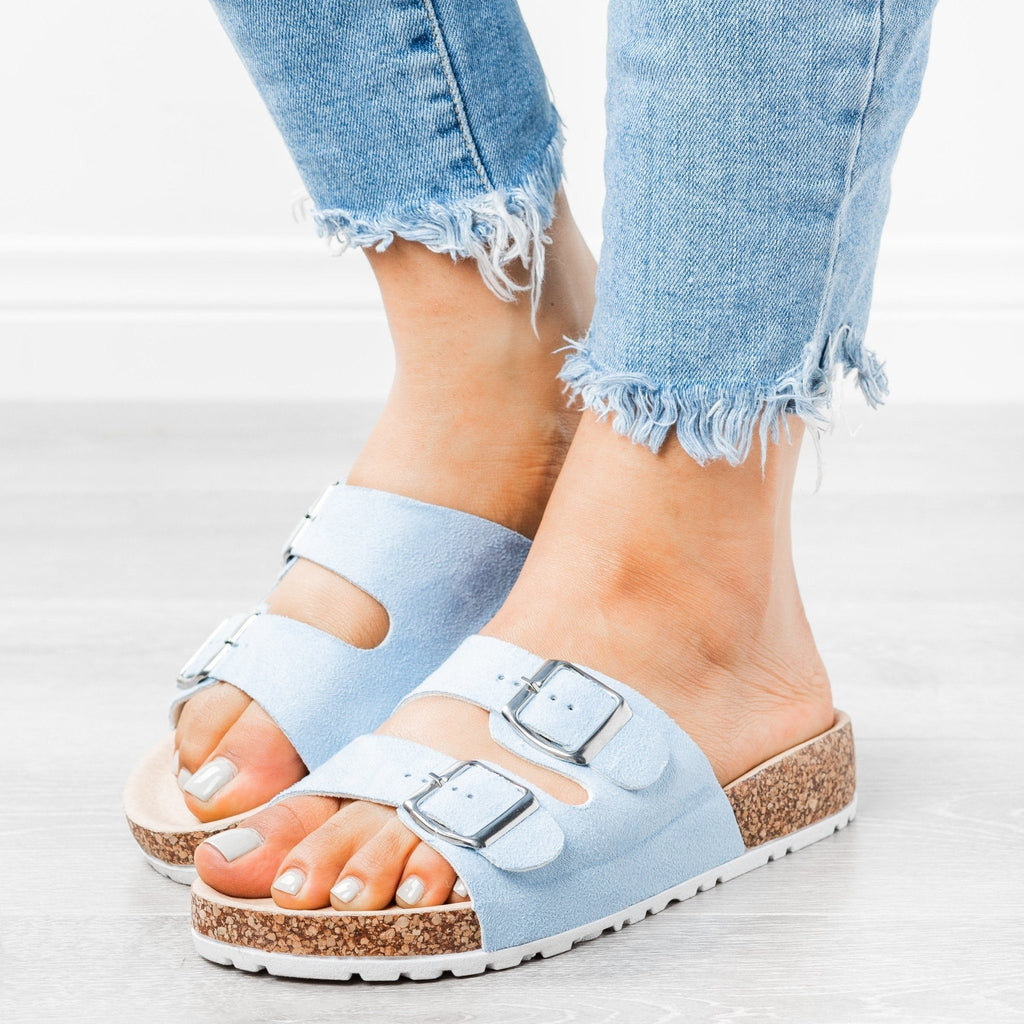 Womens Stylish Double Buckle Sandals - Forever - Blue / 5
