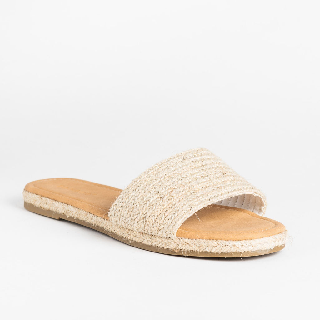 Womens Stylish Espadrille Slip-On Sandals - Bamboo Shoes - Natural / 5