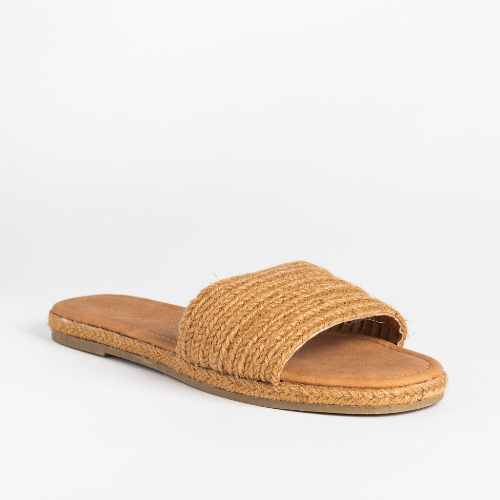 Womens Stylish Espadrille Slip-On Sandals - Bamboo Shoes - Tan / 5