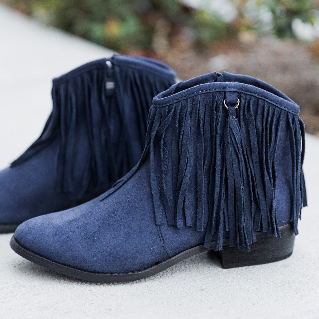 Womens Stylish Fringe Western Booties - Reneeze Shoes