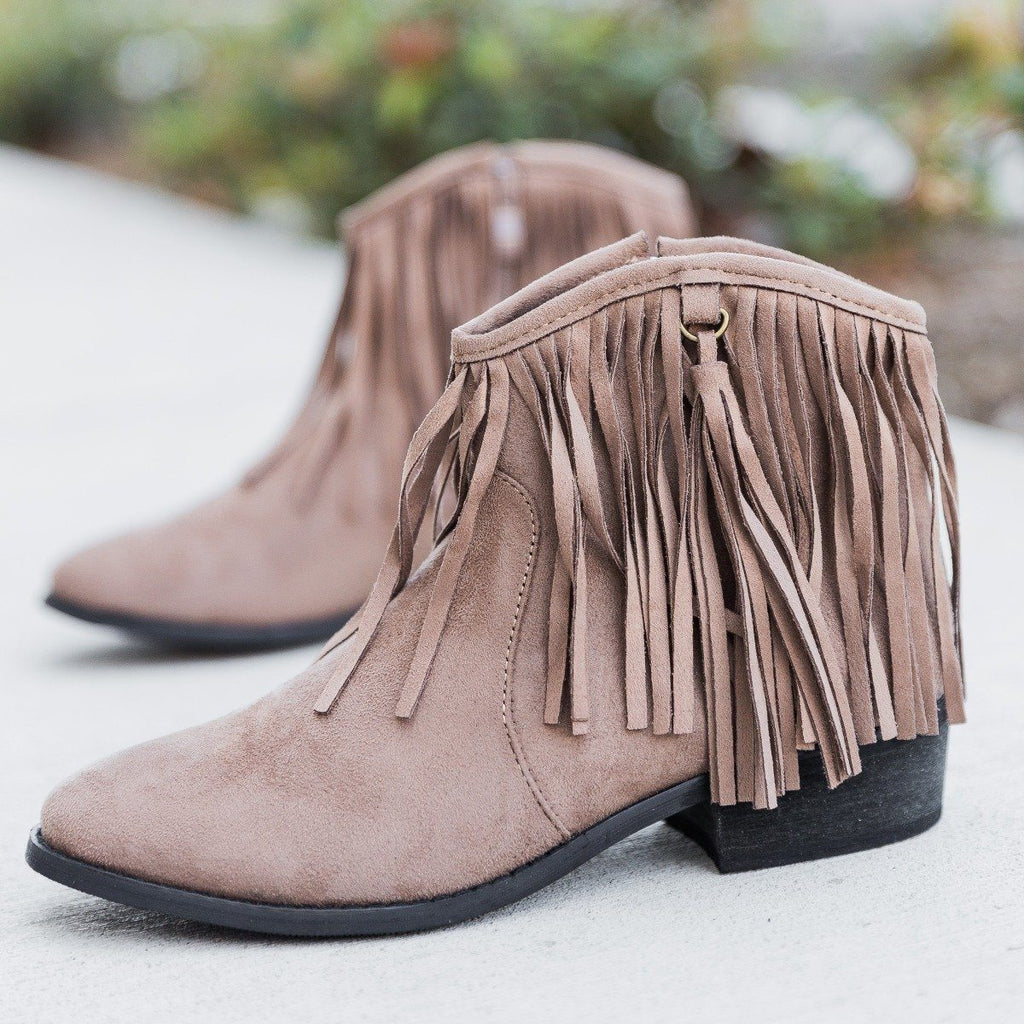 Womens Stylish Fringe Western Booties - Reneeze Shoes - Brown / 5