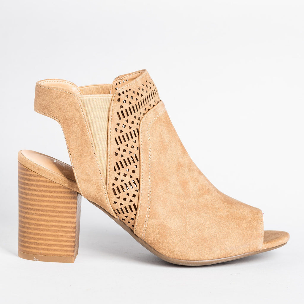 Womens Stylish Laser Cut Peep Toe Booties - Refresh - Taupe / 5
