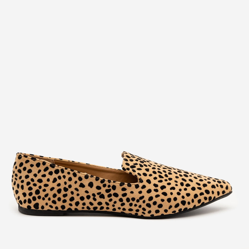 Women's Stylish Leopard Print Flats - Qupid Shoes - Tan Black Leopard / 5