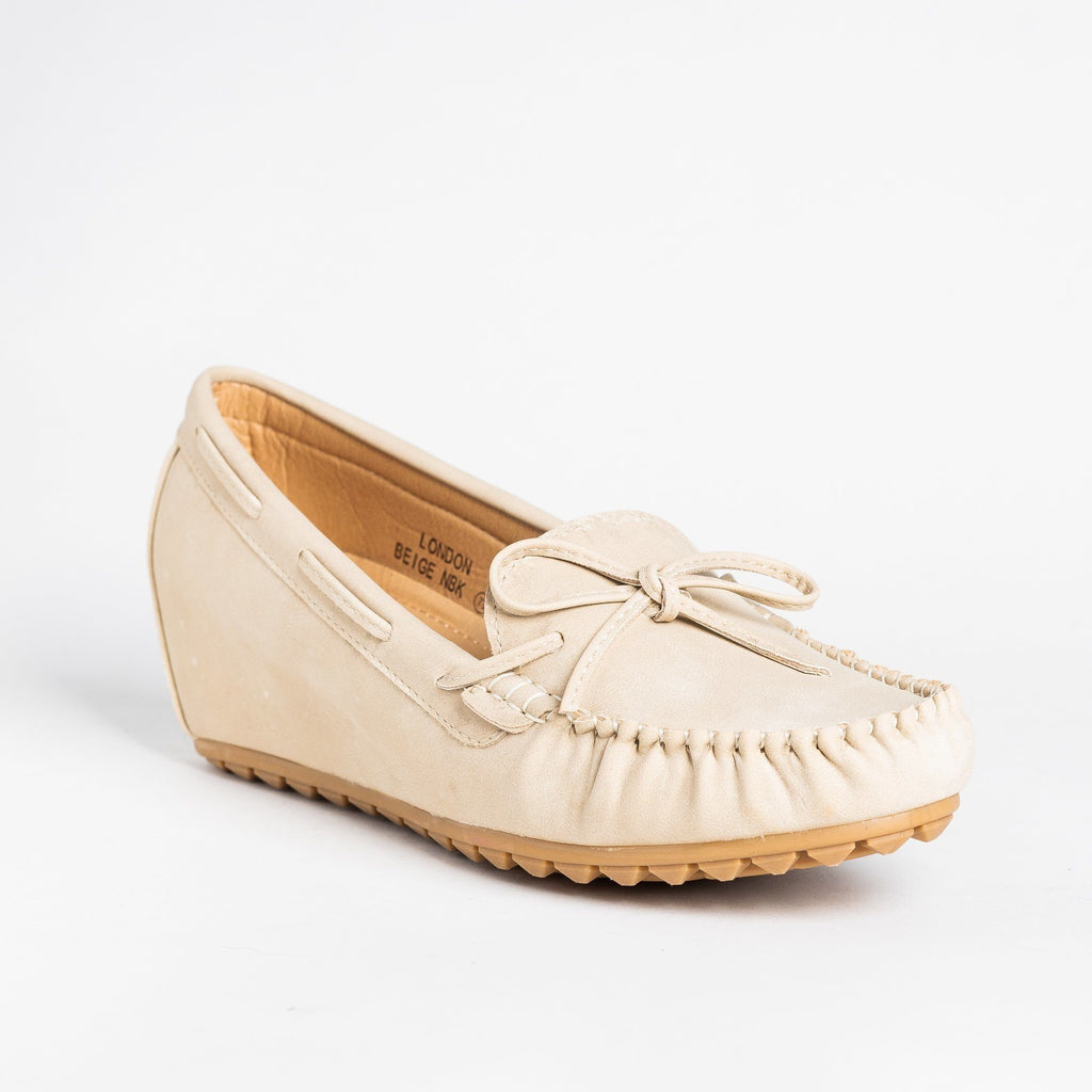 Womens Stylish Moccasin Wedges - Bella Marie - Beige / 5