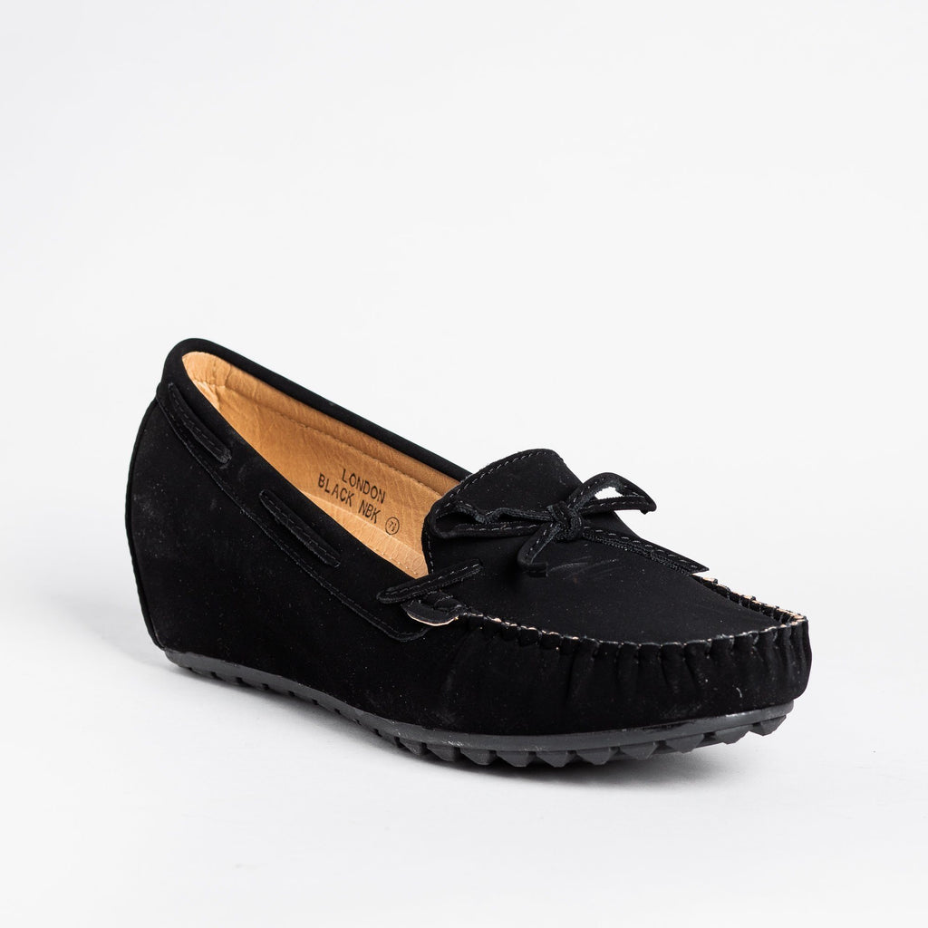 Womens Stylish Moccasin Wedges - Bella Marie - Black / 5
