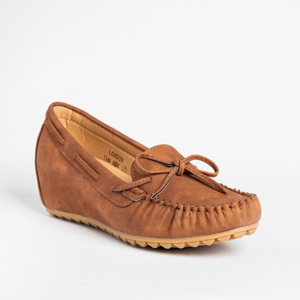 Womens Stylish Moccasin Wedges - Bella Marie - Tan / 5