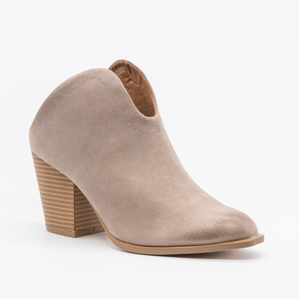 Womens Stylish Mule Western Ankle Booties - Qupid Shoes - Taupe / 5