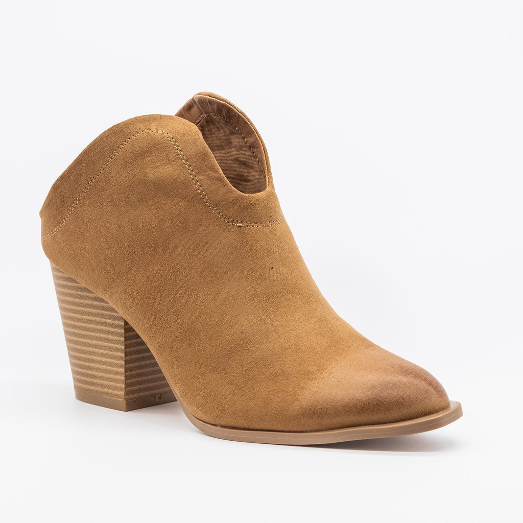 Womens Stylish Mule Western Ankle Booties - Qupid Shoes - Camel / 5