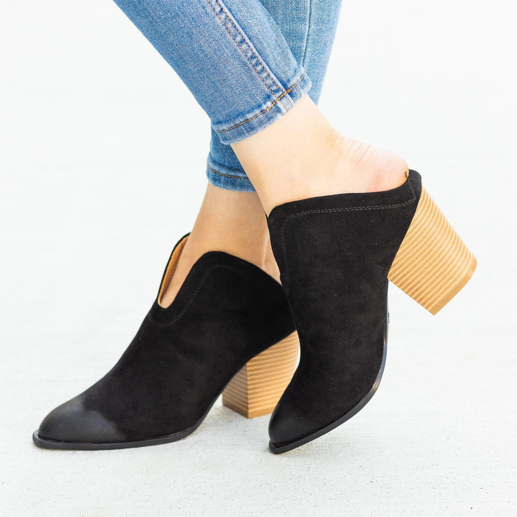 Womens Stylish Mule Western Ankle Booties - Qupid Shoes