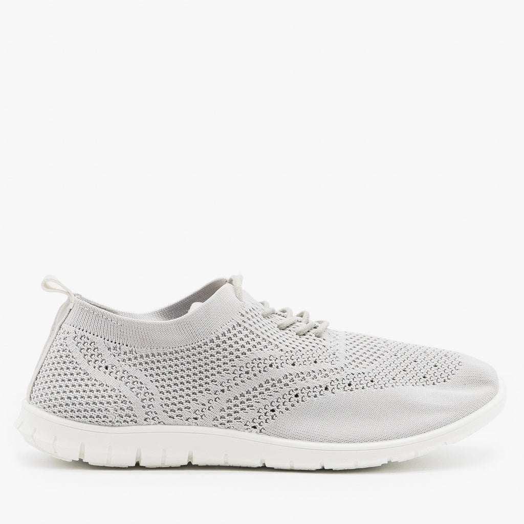 Women's Stylish Pinhole Athletic Sneakers - Refresh - Gray / 5
