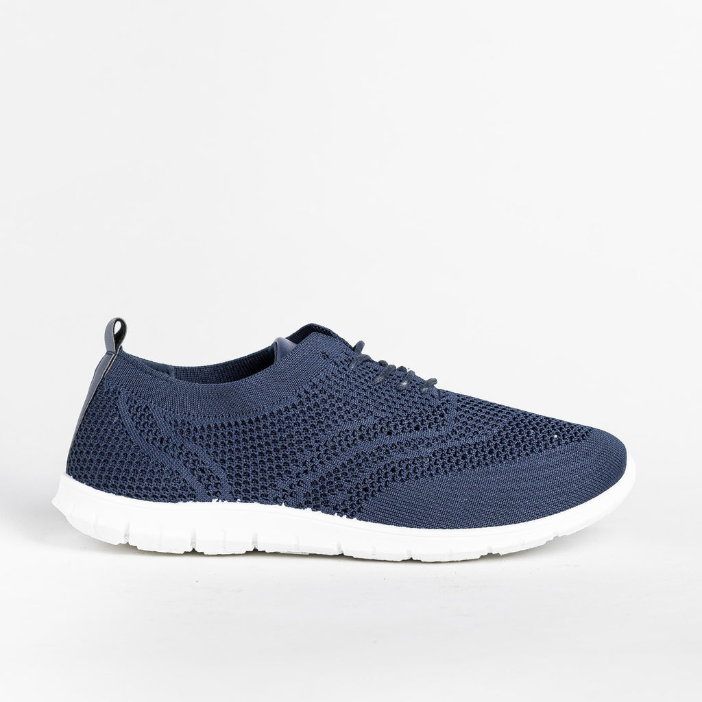 Womens Stylish Pinhole Athletic Sneakers - Refresh - Navy / 5