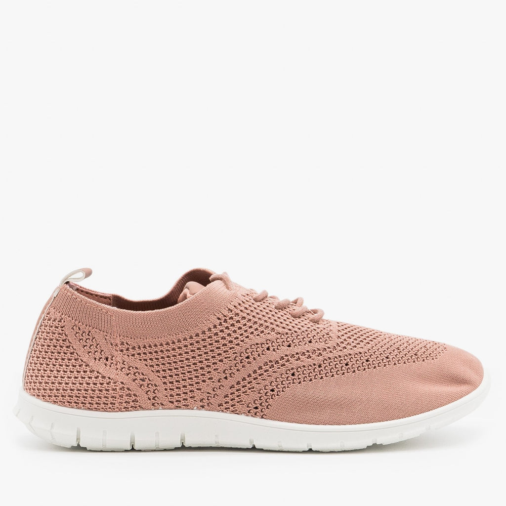 Women's Stylish Pinhole Athletic Sneakers - Refresh - Mauve / 5