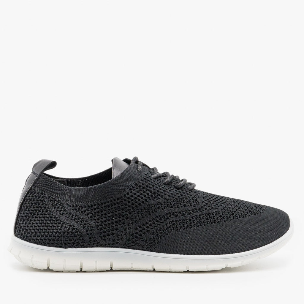Women's Stylish Pinhole Athletic Sneakers - Refresh - Black / 5