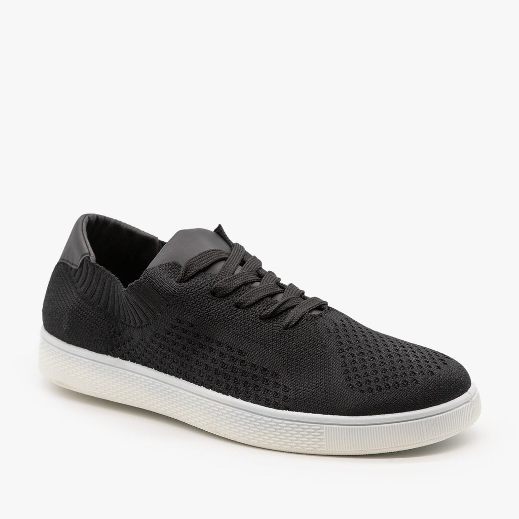 Womens Stylish Pinhole Sneakers - Refresh - Black / 5