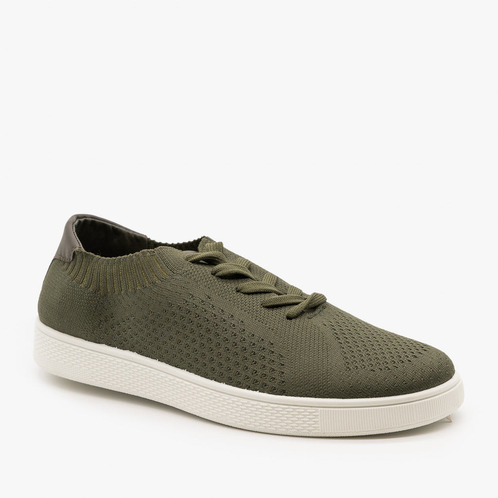 Womens Stylish Pinhole Sneakers - Refresh - Olive / 5