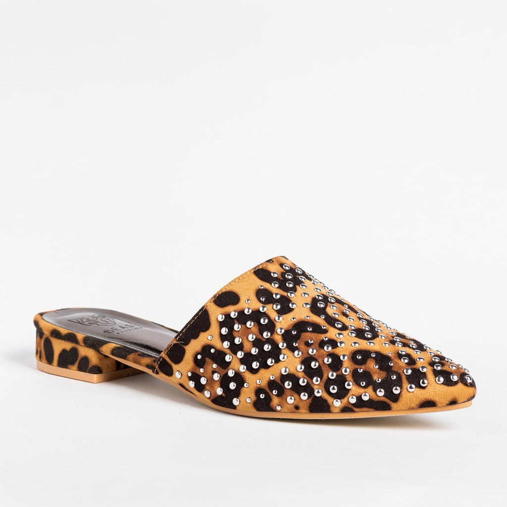 Womens Stylish Studded Mule Flats - Beast Shoes - Leopard / 5