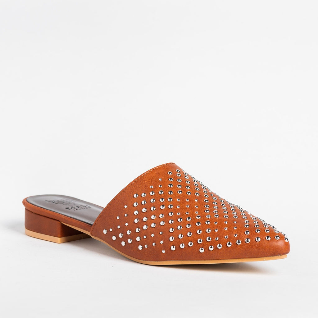 Womens Stylish Studded Mule Flats - Beast Shoes - Cognac / 5