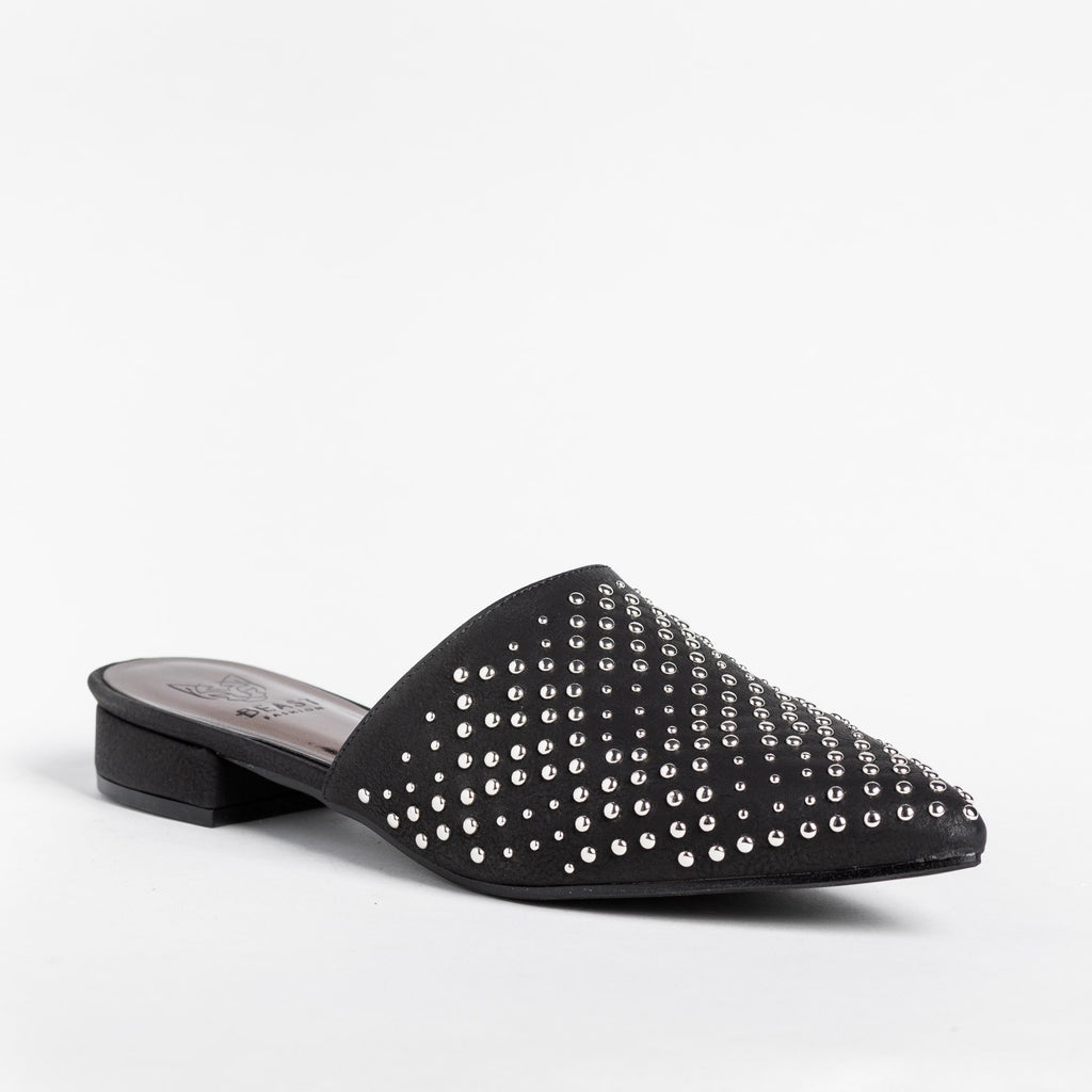 Womens Stylish Studded Mule Flats - Beast Shoes - Black / 5