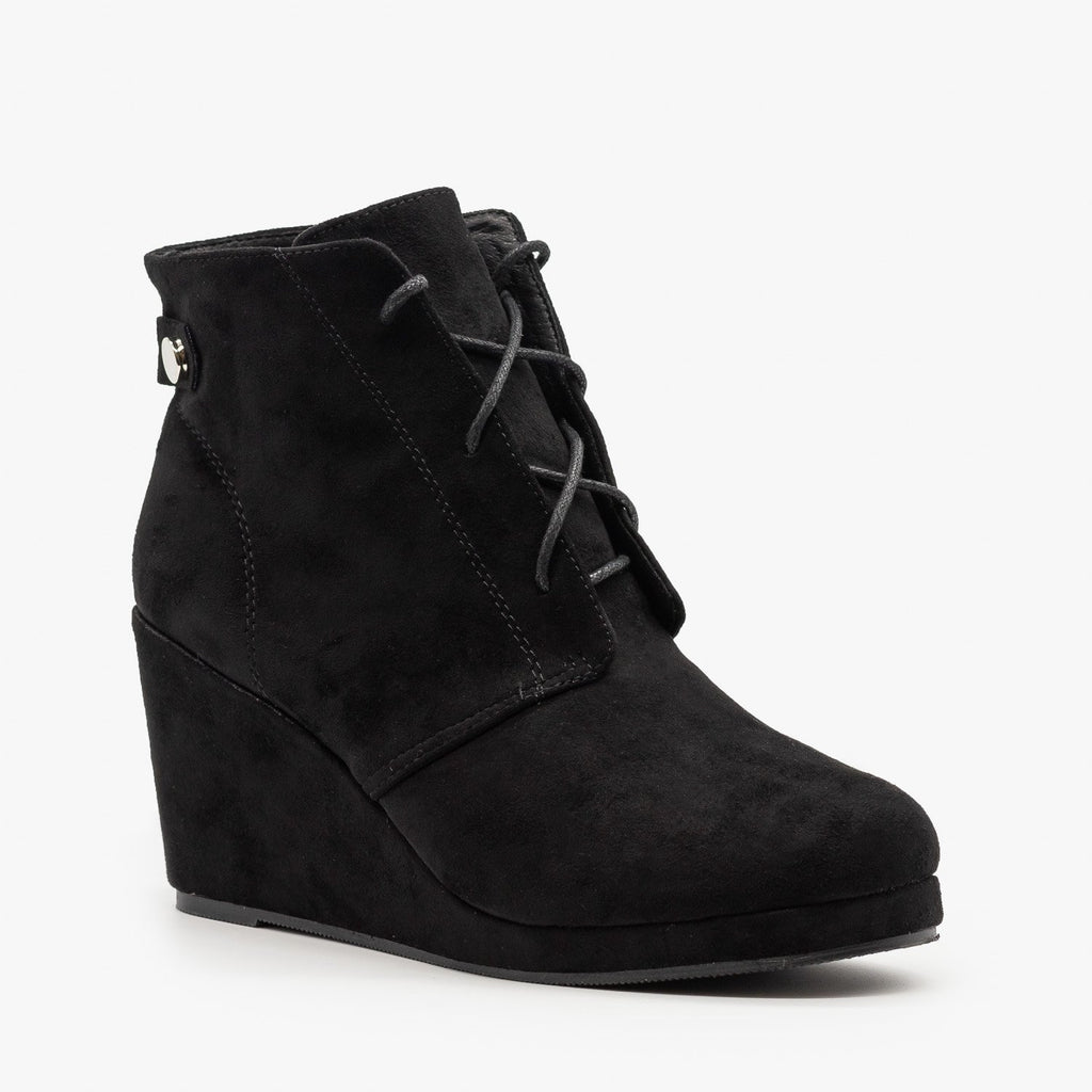 Womens Stylish Wedge Heel Ankle Booties - Chase & Chloe - Black / 5