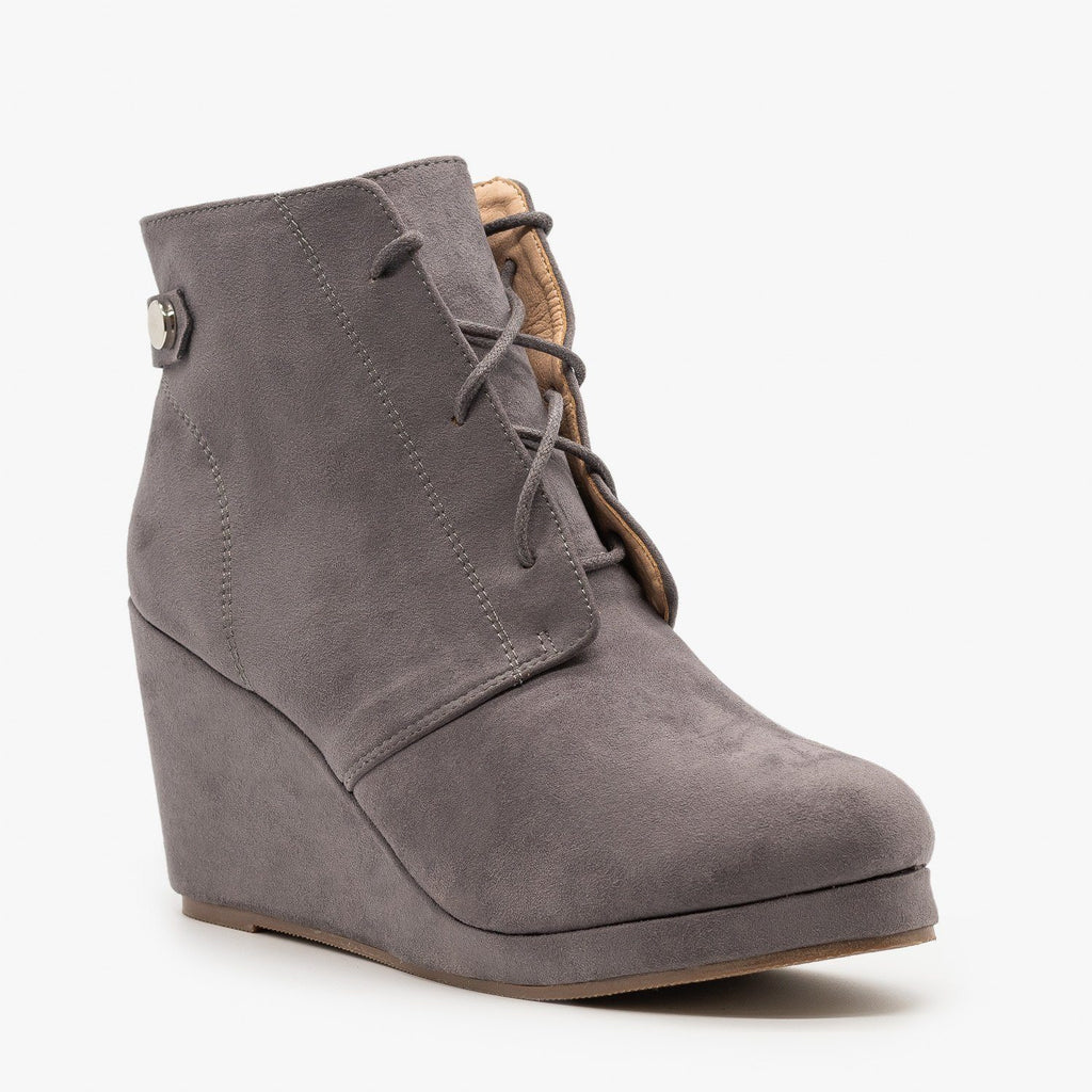 Womens Stylish Wedge Heel Ankle Booties - Chase & Chloe - Gray / 5