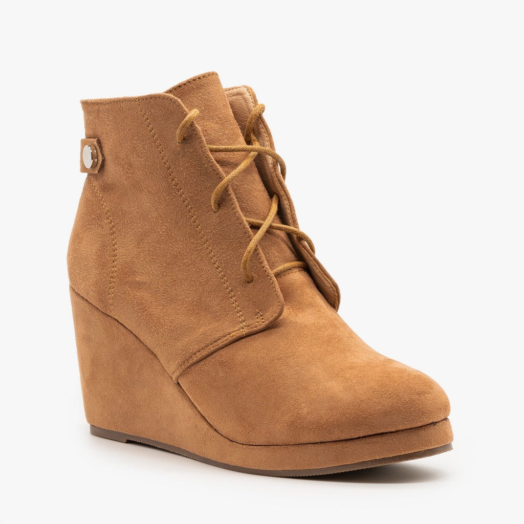 Womens Stylish Wedge Heel Ankle Booties - Chase & Chloe - Taupe / 5