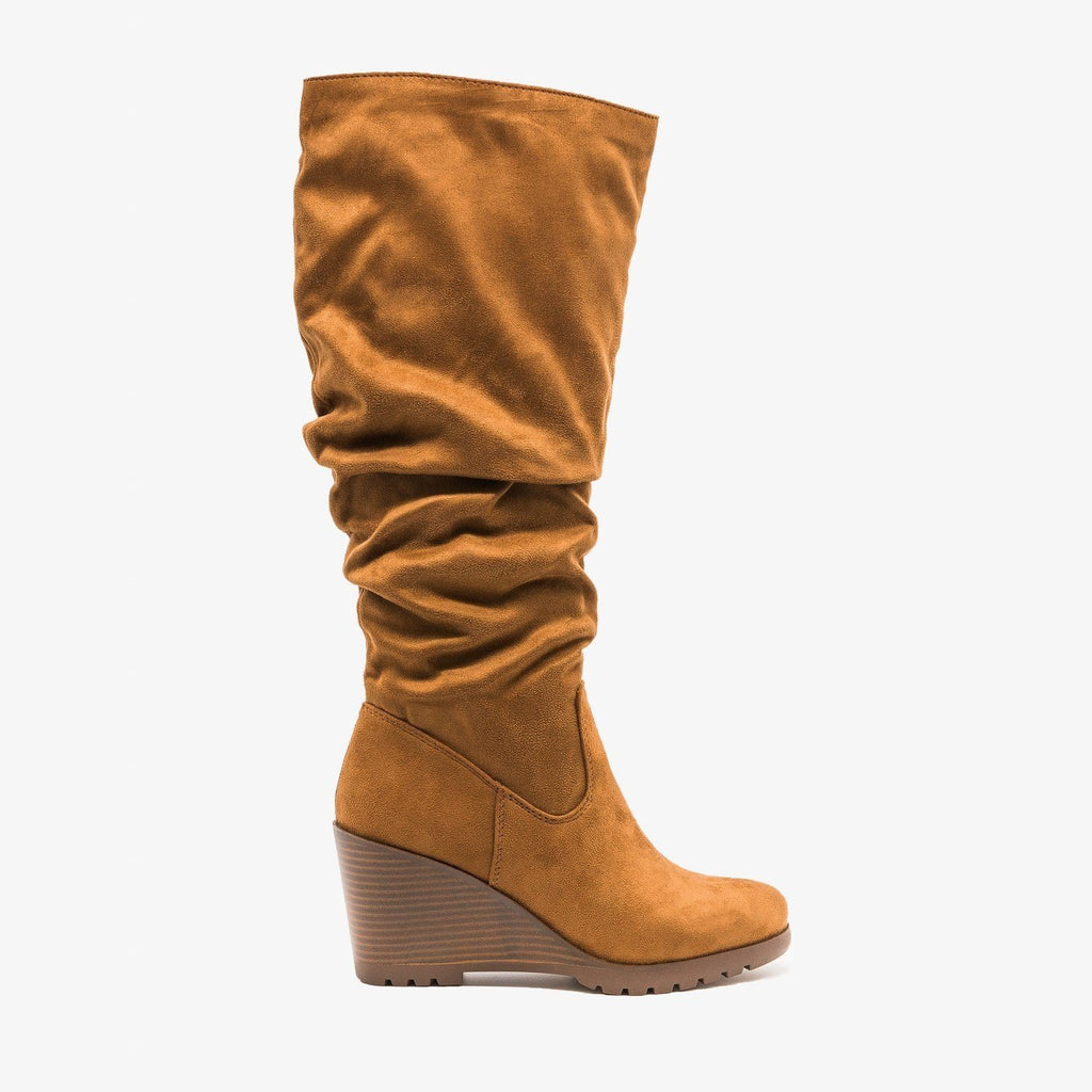 Womens Stylish Wedged Knee High Boots - Soda Shoes - Chestnut / 5