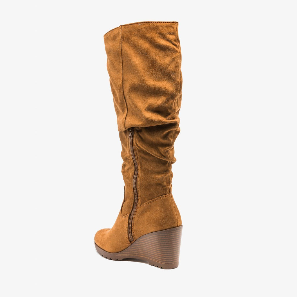 Womens Stylish Wedged Knee High Boots - Soda Shoes