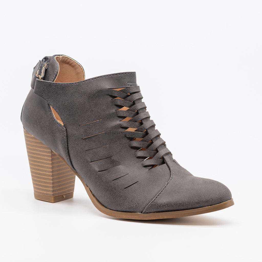 Womens Stylish Woven Ankle Booties - AMS Shoes - Charcoal / 5