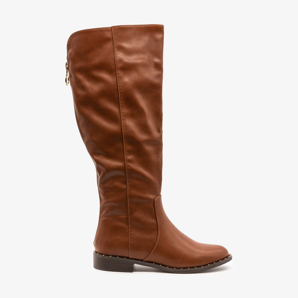 Womens Subtle Details Riding Boot - Bamboo Shoes - Chestnut / 5