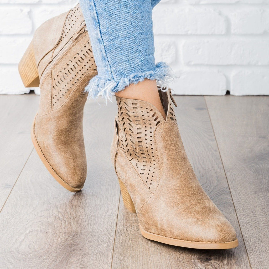 Womens Subtle Laser-Cut Ankle Booties - Qupid Shoes