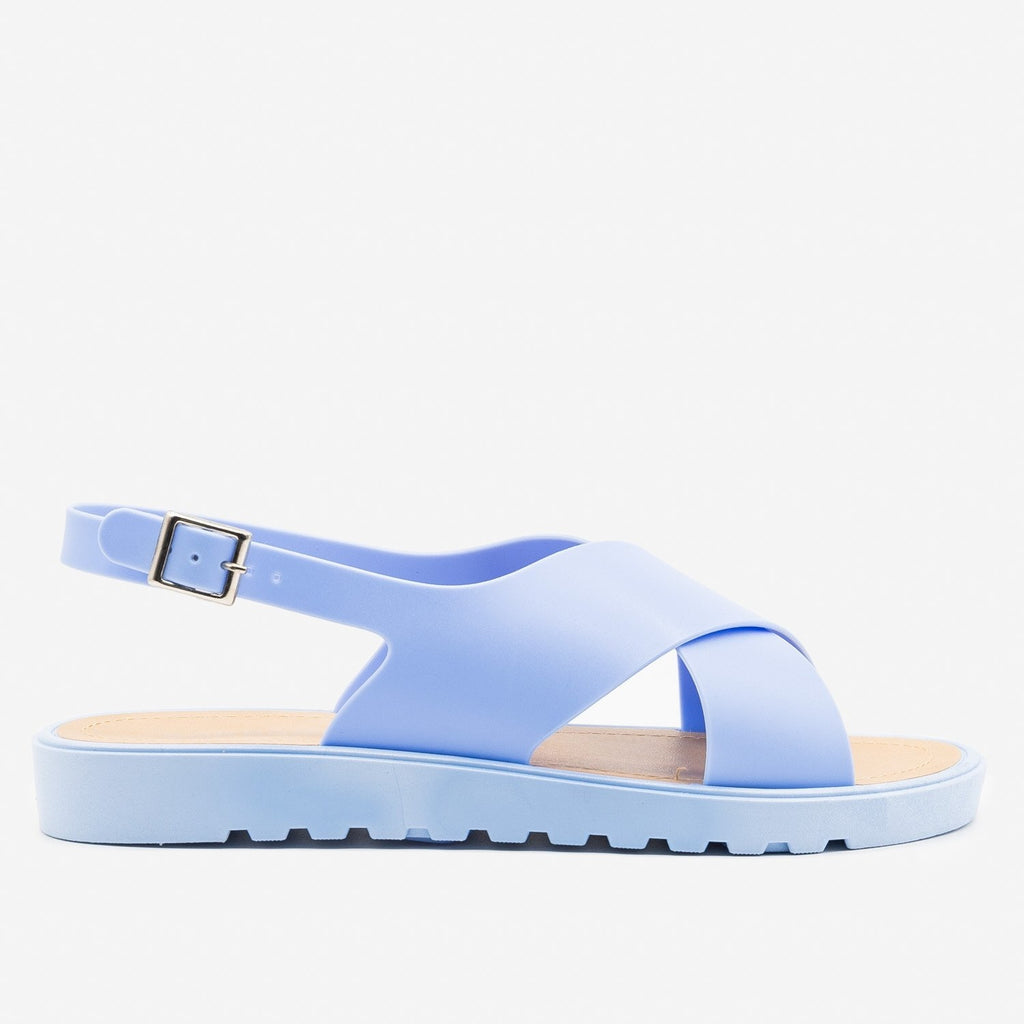 Women's Summer Chic Jelly Sandals - Bamboo Shoes - Blue / 5