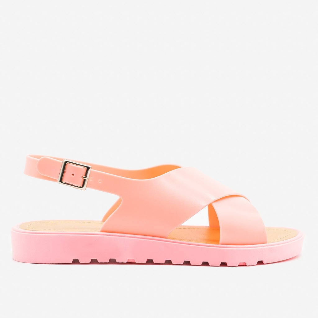 Women's Summer Chic Jelly Sandals - Bamboo Shoes - Pink / 5