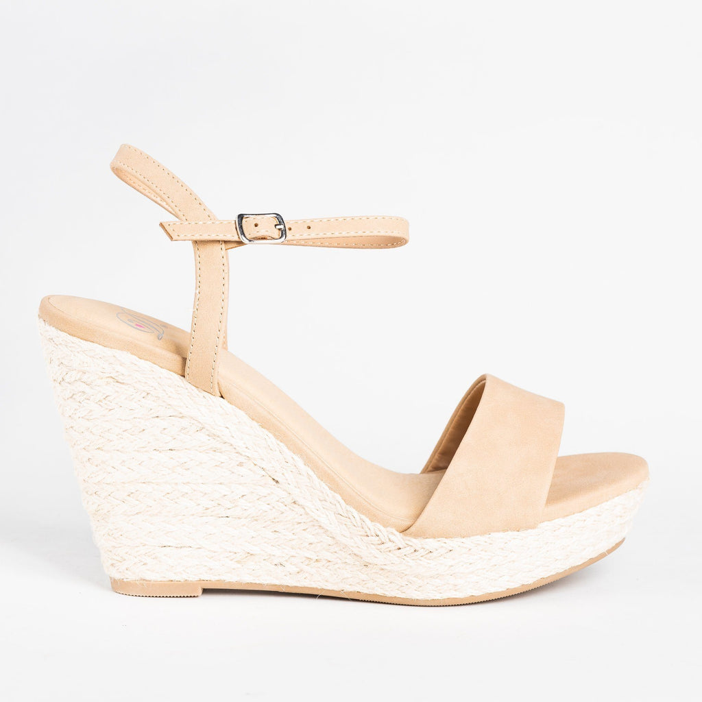 Womens Espadrille Open-toe Wedges - Soda Shoes - Natural / 5