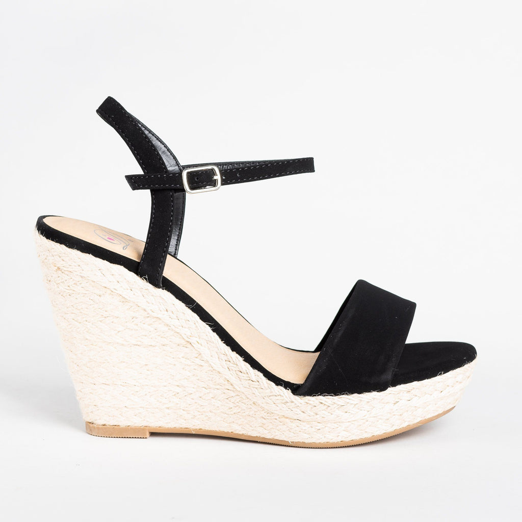 Womens Espadrille Open-toe Wedges - Soda Shoes - Black / 5