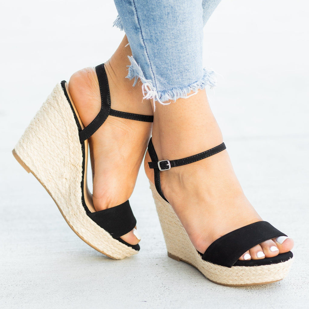 Womens Espadrille Open-toe Wedges - Soda Shoes