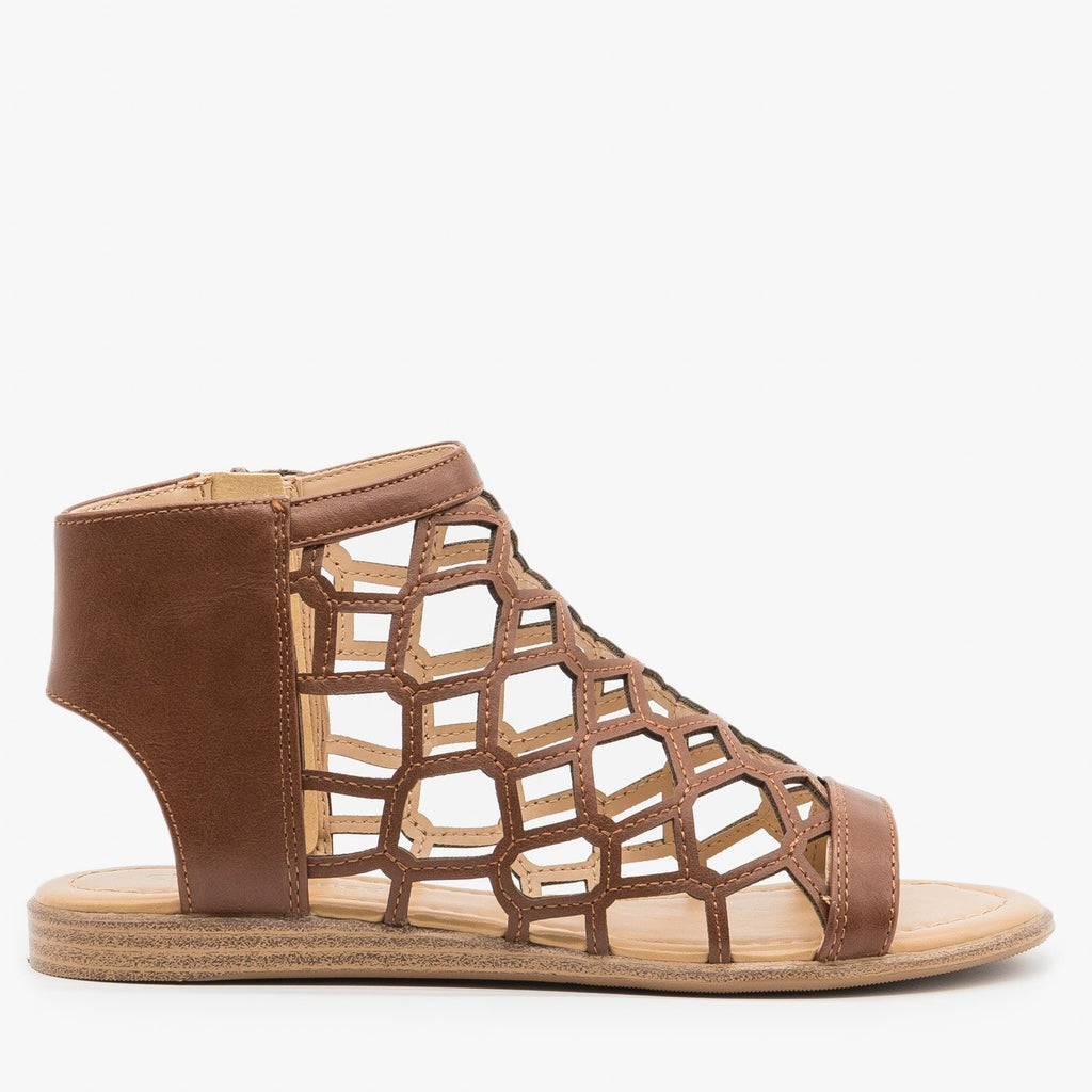 Womens Summer Honeycomb Sandals - City Classified Shoes - Cognac / 5
