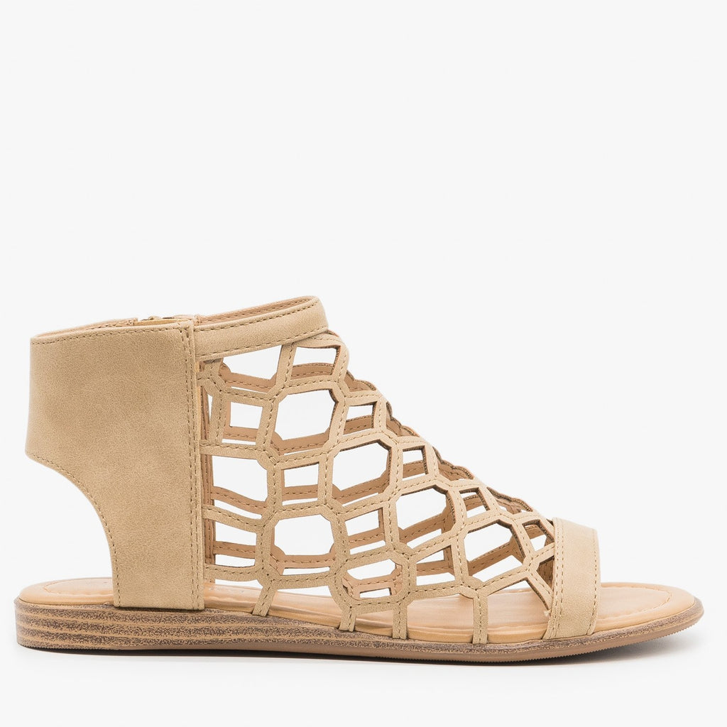 Womens Summer Honeycomb Sandals - City Classified Shoes - Camel / 5