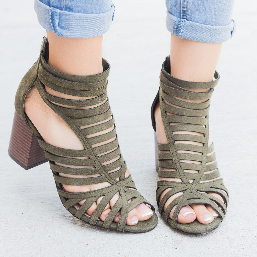 Womens Summer Strappy Chunky Heels - Shoelala - Olive / 5