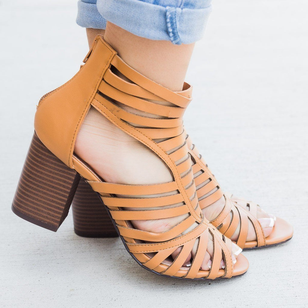 Womens Summer Strappy Chunky Heels - Shoelala