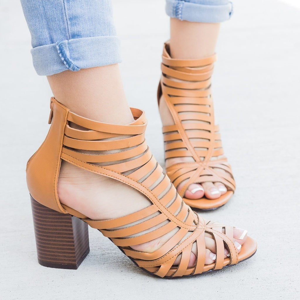 Womens Summer Strappy Chunky Heels - Shoelala - Tan / 5