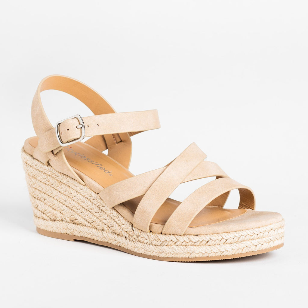 Womens Summer Strappy Espadrille Wedges - City Classified Shoes - Taupe / 5