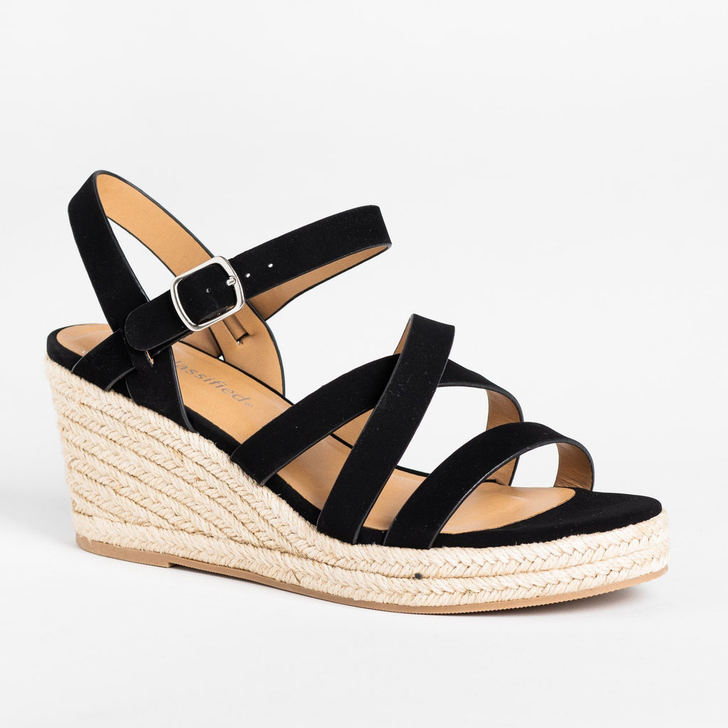 Womens Summer Strappy Espadrille Wedges - City Classified Shoes - Black / 5