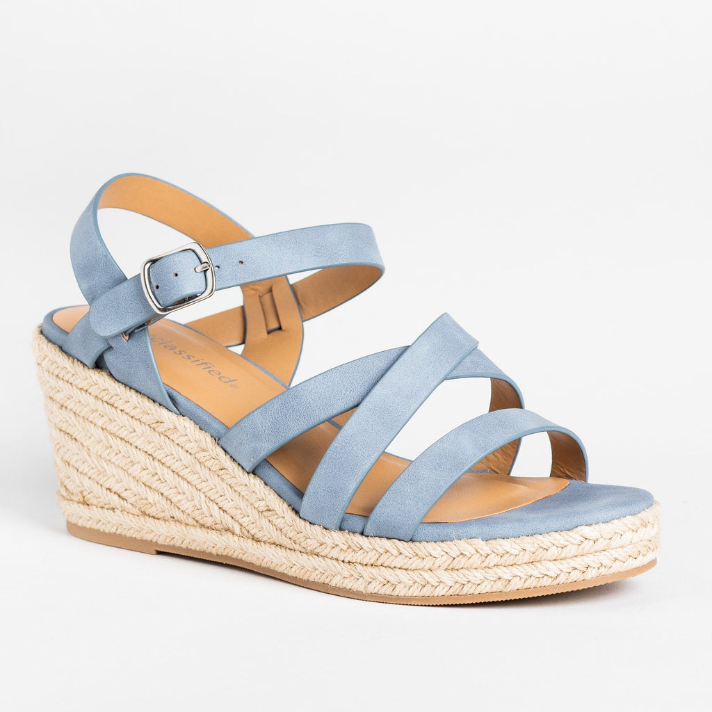 Womens Summer Strappy Espadrille Wedges - City Classified Shoes - Dusty Blue / 5